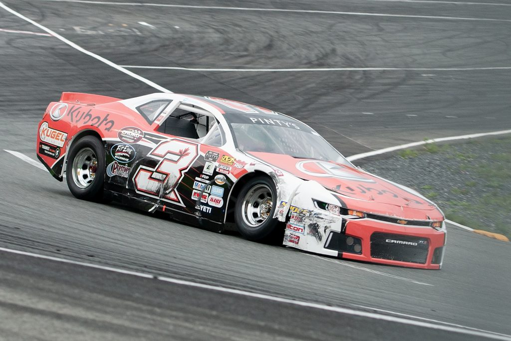 VALLEE-JONCTION, QC - JUNE 29 2019: Jason Hathaway at the Budweiser 300 at Autodrome Chaudiere on June 30, 2019 in Vallee-Jonction, Quebec, Canada. (Photo by Matthew Murnaghan/NASCAR)